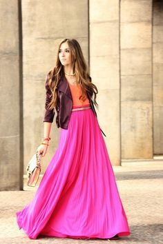fuchsia maxi skirt, orange tank and eggplant leather jacket......the skirt length is so dramatic.