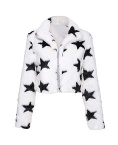 Shop ROMWE Stylish Star Print Fur Coat at ROMWE, discover more fashion styles online. White Fur Coat, Coat Patterns, Latest Street Fashion, Beautiful Outfits, Beautiful Clothes, Star Print, Sweater Fashion, Sweater Weather, Romwe