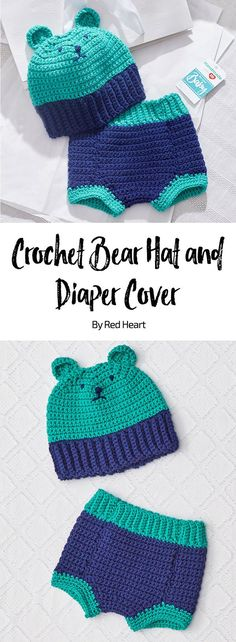 Crochet Bear Hat and Diaper Cover free crochet pattern in Baby Hugs Medium yarn. This fun crochet set is perfect for baby to wear in photos to share! This yarn has been tested for harmful substances, so you can confidently use next to baby's skin. Add a personal touch with optional face embroidery.
