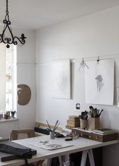 Enthralled with the idea of having neutral walls with a runner to hang prints on. Drafting desks are the way to go. Can't be too difficult to DIY.