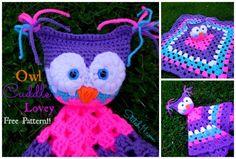 Crochet Owl Cuddle Lovey – Free Pattern From Lovely Crochet Patterns for Baby and Kids Crochet Security Blanket, Crochet Lovey, Crochet Gratis, Baby Blanket Crochet, Crochet Toys, Free Crochet, Knit Crochet, Lovey Blanket, Owl Patterns