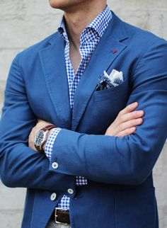 Blue casual blazer, white patterned pocket square, checkered shirt, sand chinos - perfect for spring/summer!