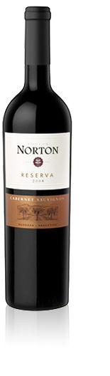 Norton Reserva Cabernet Sauvignon (Finca La Colonia Luján de Cuyo, Mendoza, Argentina, 2008). Alcohol: 14,7%, total acidity: 4,55 g/l, reducing sugar: 1,83 g/l. Tasting characteristics: vibrant ruby color; complex aromas of ripe red fruits and mint, with dark chocolate notes; highly concentrated on the palate with round, ripe tannins and a long, spicy finish (750 ml, $14.00)
