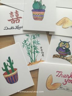 Any 3 Cards Free US Shipping Greeting cards, Hand painted printed cards, Note Cards, Card, by Formosasoul on Etsy Greeting Cards Handmade, Watercolor Illustration, Note Cards, Coasters, Hand Painted, Printed, Unique Jewelry, Handmade Gifts, Free