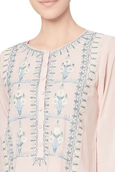 Blush cotton georgette kurta