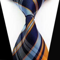 New Classic Blue Orange Check 100%Silk Jacquard Woven Necktie Men's Tie #Unbranded #NeckTie