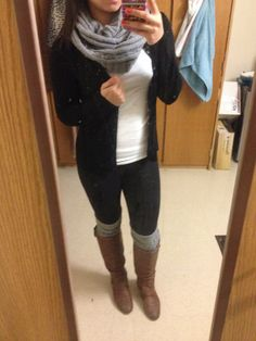 First day of classes college student winter fashion Leg warmers- wet seal Leggings- PINK cardigan- banana republic Scarf- jcpenny Tank- jcpenny Breckelle Boots- amazon