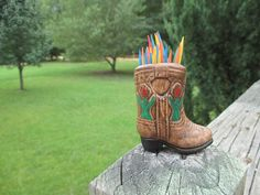 Vintage Mini Brown Cowboy Boot Toothpick Holder--Made in Japan--Ceramic--Southwestern Decor--Travel Souvenir--Retro Kitschy Kitchenware by AlloftheAbove on Etsy