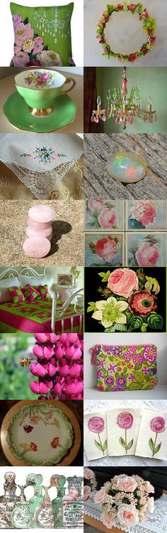 Beautiful Pink and Green by Bohemianredjewelry on Etsy--Pinned+with+TreasuryPin.com