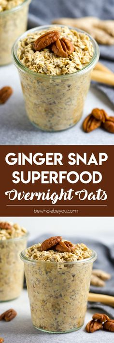 Ginger Snap Superfood Overnight Oats. Grandma's warm Ginger Snap Cookies straight from the oven can also be your morning fuel. Wake up to this superfood packed bowl of oatmeal.