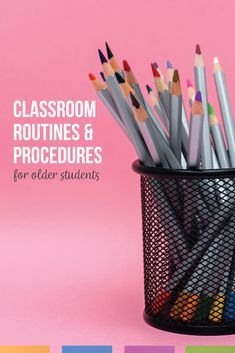 Make meaningful classroom procedures for older students to better classroom management. Build relationships with students by teaching procedures and routines. Classroom procedures and routines for high school can be simple and effective so that students understand what to do each day in class. Teaching classroom routines and procedures does not take long, but teacher and student relationships will grow & students can meet high school standards with basic routines and procedures. Classroom Control, Ela Classroom, Classroom Tools, High School Classroom, Classroom Management, Classroom Behavior, Behavior Management, Classroom Decor, Classroom Routines And Procedures