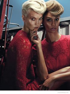 Karlie Kloss and Joan Smalls team up for a Helmut Newton-esque shoot featured in W Magazine's November issue.