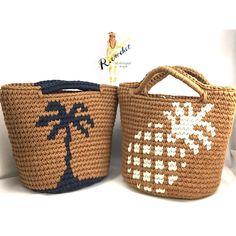Inspiration - Tasche aus seil/Kordel häkeln, mit Stofffarbe bedrucken