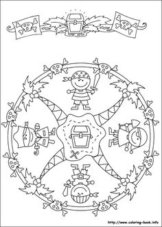 Mandalas bring relaxation and comfort to adults all over the world. Mandalas are one of our favorite things to color. Kids can color them too! We have some more simple mandalas for kids to color. Mandalas for Kids Cartoon Coloring Pages, Mandala Coloring Pages, Coloring Book Pages, Printable Coloring Pages, Pirate Day, Pirate Theme, Mandalas For Kids, Pirate Activities