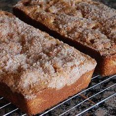 Streusel Rhubarb Bread Recipe Afternoon Tea, Breads, Breakfast and Brunch with brown sugar, vegetable oil, eggs, buttermilk, vanilla extract, all-purpose flour, baking soda, salt, rhubarb, chopped walnuts, sugar, ground cinnamon, butter