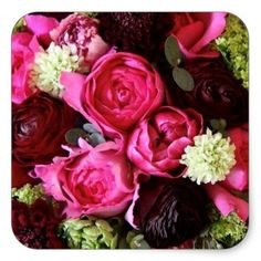 Red and Pink Tea Roses Square Sticker - occasion gifts gift idea diy