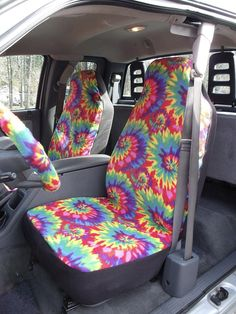 Reserved For Jessica Macomber 1 Set Of Rainbow Tie Dye Print R Seat Cover Bottom And Steering Wheel Custom Make