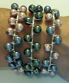 Wire Wrapped Glass Pearl bracelet by gr8byz by gr8byz on Etsy, $15.00