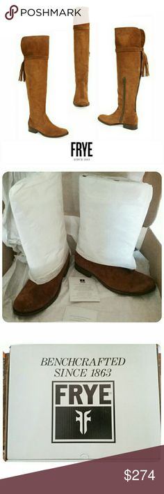 """NIB FRYE Molly Tassle OTK Brown Boots 5.5, 6, 7 Frye's superior craftsmanship really shines through in this Molly Over The Knee Suede Boot with a Trailing Back Tassel in Wood Brown. They are brand new in box. Three sizes: 5 1/2, 6, & 7. All Medium widths.  They're made of suede uppers & leather soles. They run small.  Opening circumference is about 15 1/2"""". Heal is about 1"""". Shaft height is about 20 1/2"""".  There is a block heal, solid vamp, round toe, & a side zipper closure. The top can be…"""