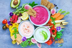 Greek yoghurt dips – beetroot, avocado and chili