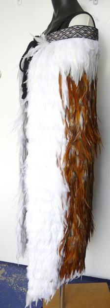 Maori Korowai Feather Cloak - Tan and White Polynesian People, Flax Weaving, Feather Cape, Maori Designs, Nz Art, Maori Art, Kiwiana, Tribal Art, Cloak