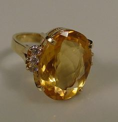 Vintage Citrine and Diamond Cocktail Ring 14kt Solid Gold