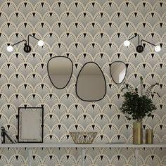Non-woven wallpaper CASSANDRE colour ecru black - Wallpaper - Art Deco Wallpaper, Bathroom Wallpaper, Black Wallpaper, Wallpaper Toilet, Wallpaper Ideas, Deco Retro, Small Toilet, Bad Inspiration, Bathroom Design Small