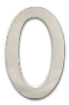 "Architectural Mailboxes 3582SN-0  Brass 4-Inch Floating House Number, Satin Nickel ""0"""