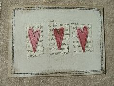ATC - make it an inchie instead Fabric Cards, Fabric Postcards, Atc Cards, Sewing Art, Free Machine Embroidery, Heart Cards, Artist Trading Cards, Valentine Day Cards, Creative Cards