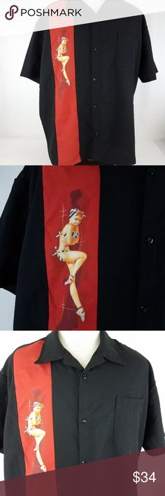"Steady Clothing last call pinup girl graphic Steady Clothing Last Call Shirt  Men's Size 2X  Black & Red with Pin Up Graphic  Button Down  Short Sleeve Good Preowned Condition Measurements, Laying Flat, Approximate: Armpit to Armpit:  27"" Length:  28.5"" Last Call Shirts Casual Button Down Shirts"
