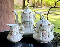 Antique French Teapot Set Floral Decor Tea Set French Vintage  Antique China Tea Pot Sugar Bowl Shabby Chic Decor by AntiqueBoutiqueIdeas on Etsy