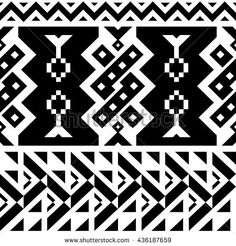 Seamless Chevron Vector Pattern for Textile Design. Black and White Mix of Triangles, Stripes and another Shapes