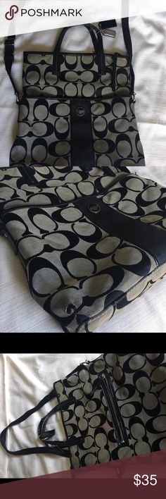 Coach purse Designer Coach purse, black and silver.  Well used and worn, yet still functional and stylish.  See pictures for detailed condition. Coach Bags Shoulder Bags