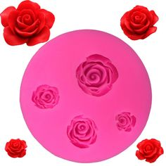 Four Different Size Roses Silicone Mold