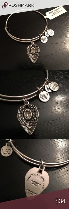 NWT Alex and Ani guardian angel bangle Brand new with tags...rafailian silver with crystal guardian angel bangle. Comes with meaning card. From smoke and pet free home ❌no trades❌ Alex & Ani Jewelry Bracelets