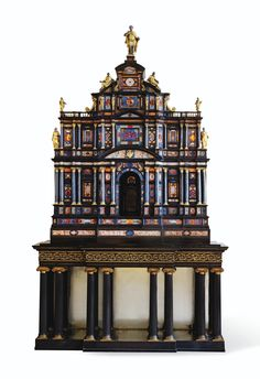 AN EXCEPTIONAL ITALIAN GILT-BRONZE MOUNTED SILVER, EBONY AND PIETRA DURA CABINET, ROME, CIRCA 1620, FROM POPE PAUL V BORGHESE, AND THEN KING GEORGE IV IN 1827 pin 1 of 2