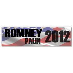 Romney Palin 2012 Flag Bumper Sticker