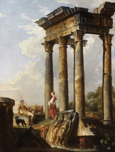 Ancient Ruins. Giovanni Paolo Pannini. Italian. 1691-1765. oil on canvas.