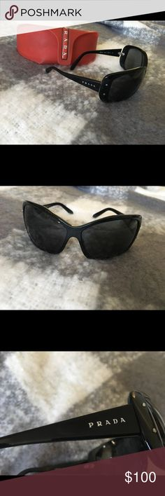 Used Prada Sunglasses Used black Prada sunglasses.  If you have any questions about this item feel free to ask me.  I have other items listed in my closet. If you're interested in this, you might be interested in something else I have up. Check it out. :) Happy shopping! Prada Accessories Sunglasses