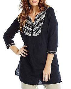 39b99c9afd98db NEW LADIES BLACK Embroidery BLOUSE TUNIC SHIRT DRESS TOP LINEN MIX PLUS SZ  12-26