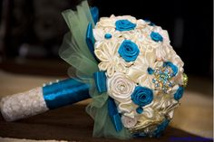 Blue and white satin flowers and tulle wedding bouquet! I take order! Shipping worldwide!