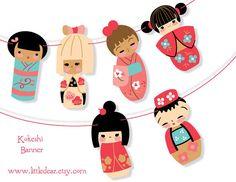 Printable Kokeshi Dolls Banner PDF                                                                                                                                                      Mais