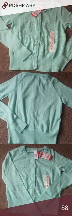 Nwt! (Girls 7/8)  cozy button up sweater Teal color. Great with jeans Cat and Jack Shirts & Tops Sweaters