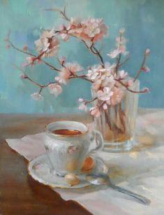 Classic Paintings, Easy Paintings, Beautiful Paintings, In Loco, Still Life Oil Painting, Tea Art, Teacup, Painting & Drawing, Watercolor