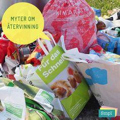MYT 5: Det är ingen vits att sortera eftersom allt ändå blandas ihop efteråt.  SANNING:  Inget blandas! Allt skickas separat till olika, specialiserade anläggningar för återvinning.  De som tömmer behållarna på återvinningsstationer och i återvinningsrum åt oss får ersättning när de lämnar materialet sorterat på rätt sätt.  Källa: latgammaltblinytt.ftiab.se Snack Recipes, Snacks, Chips, Photo And Video, Videos, Instagram, Food, Snack Mix Recipes, Appetizer Recipes