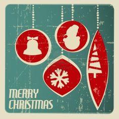 1950s christmas decor | Retro Christmas card with christmas decorations - ... | Vintage - Car ...