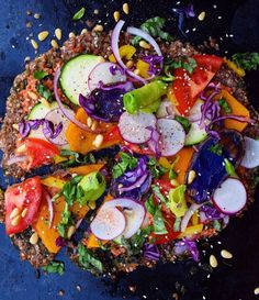 Buckwheat Crust Pizza With Squash, Red Cabbage, Radishes Fresh Tomatoes And Avocado recipe by Fear not. Food is your friend. Healthy Pizza, Vegan Pizza, Healthy Dishes, Healthy Eating, Healthy Food, Vegan Food, Clean Eating, Pizza Recipes, Vegan Recipes