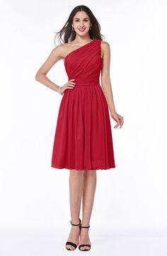 Red Elegant Asymmetric Neckline Zipper Chiffon Knee Length Plus Size Bridesmaid Dresses