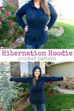 Holly Jolly Poncho: Free Christmas Poncho Crochet Pattern Are you ready to make the most comfortable, never-want-to-take-off crochet hoodie you ever did crochet? The Hibernation Hoodie is it! Sizes S - Crochet Hoodie, Crochet Geek, Crochet Woman, Crochet Crafts, Free Crochet, Knit Crochet, Crochet Sweaters, Beginner Crochet, Crochet Tops