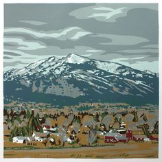 Beautiful Jim Winters reduction screen print of my home - Bitterroot Valley in MT